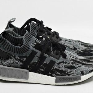 Adidas NMD R1 Core Black Gray Primeknit Glitch